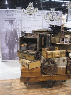 Lovely vintage cases and trolley for in store display | One Lucky Day | Clubhouse Interiors also have these items