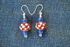 Red white and blue earrings; large red bead earrings; patriotic earrings; July 4th earrings; Independence day jewelry; team colors by Rocks2Gems2Wire on Etsy