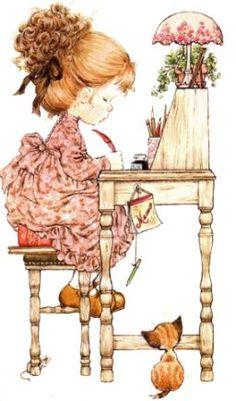 Holly Hobbie - Sarah Kay - - Digital Collage Sheet - Printable - For unlimited number of prints Sarah Key, Holly Hobbie, Sara Key Imagenes, Vintage Greeting Cards, Illustrations, Cute Illustration, Vintage Pictures, Cute Drawings, Cute Art
