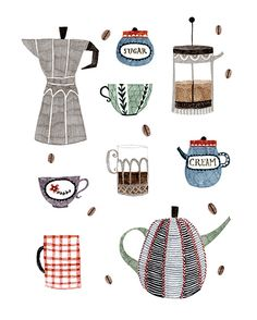Coffee and Tea Art Print by Abigail Halpin - X-Small Coffee Illustration, Illustration Art, Tee Kunst, Tea Art, Coffee Art, Coffee Drawing, Drink Coffee, Kitchen Art, Illustrations And Posters