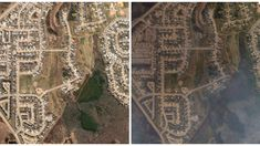 Move the slider back and forth horizontally to see what Fort McMurray, Alta., looked like before May 1 and after a wildfire swept through the city and forced every home to be evacuated.