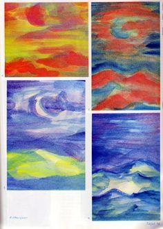 Tafel 78: Schichtübungen 07 (9. Schuljahr) [oben links: 1. Hügellandschaft in Rot-Gelb-Grün mit Himmel in Gelb-Blau-Grün mit roter Sonne oben rechts: 2. Hügellandschaft in Rot-Blau mit rot-blauem Himmel mit blauer Sonne unten links: 3. blau-gelbe Hügellandschaft mit blau-weissem Himmel mit weissem Lichtfenster unten rechts: Hügellandschaft in Blau-Gelb-Weiss mit blau-violettem Himmel]