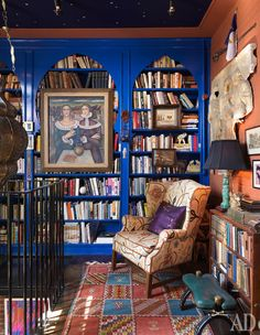 Library in house in Rhode Island, designers Tripp Evans and Ed Cabral