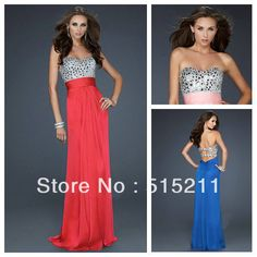 Sexy Cut Out Back Sparkle Rhinestone Sweetheart Royal Blue Hot Pink Red Chiffon Long Prom Dress 2014 New Arrival Free Shipping $134.99