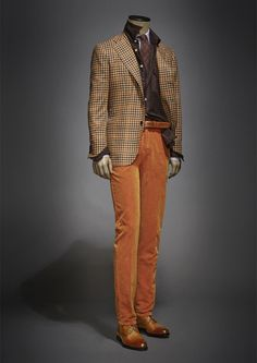 Orange Pants, Brown gingham blazer, brown cardigan