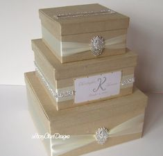 Wedding Card Box, Bling Card Box, Rhinestone Money Holder, Unique Wedding Gift Box - Custom Made. $144.00, via Etsy.