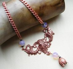 Leaf Necklace Rose Ox Tulip Flower Pink Glass Bead by LilisGems, $49.00