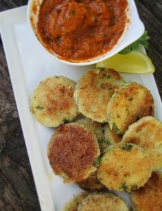 Crispy slices of zucchini, fried or baked, served with a warm roasted red pepper dipping sauce