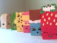 Super cute Shopkins sacks for a table centerpiece at a Shopkins party! (Or they could be gift sacks for party favors.) and it's an instant download! By ClearlyCandace on Etsy  https://www.etsy.com/listing/249870594/shopkins-inspired-printables-for-gift