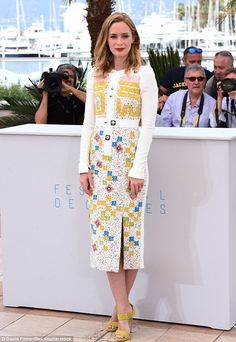 Stunning: Emily Blunt wowed in a brightly patterned dress at the Sicario photocall in Cannes on Tuesday