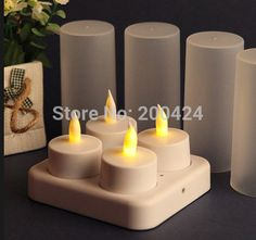 Flameless Rechargeable Led Candles 4pcs/set  Wedding Decorations Candles Light Yellow LED Tea Lights