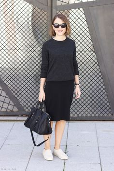 Gap Dress, Equipment Sweater, Marc Jacobs Sunglasses, Saint Lauren Bracelet, Rag & Bone Sneakers, Alexander Wang Bag
