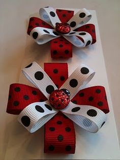 so darn cute! Think I have a bow obsession. These looke easy! Love the ladybugs!