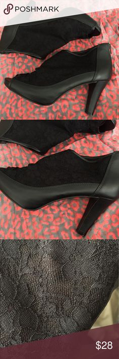 """Lace Wide Width Booties LANE BRYANT / Lace Peep Toe Booties US Size 12W - 3.5"""" heel - Black mesh with lace overlay - Faux leather and peep toe  - Back zipper  - Wide width  ✅ Worn a few times. Great condition. No box. ✅ NO trades / NO low-balling ✅ List price is fair and highly discounted✌️ Lane Bryant Shoes Ankle Boots & Booties"""