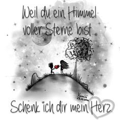 'Cause you're a sky full of stars I'm going to give you my heart ❤️ ☮ღツ #Grußkarte  www.artflakes.com/de/shop/aykayone #Postkarte  http://pokamax.com/gallery/index.php?kat=KnochiART