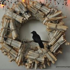 "I love this wreath made of ""scrolls"", easily achieved with pages from old books! I'm doing this!"