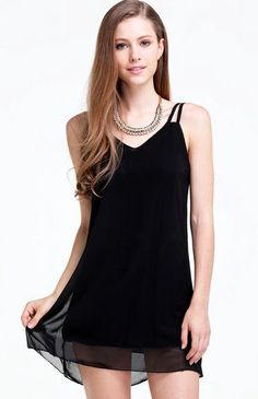 Black Trapeze Spaghetti Strap Chiffon Dress