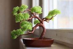 Lime green beaded bonsai