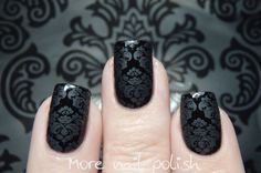 This is matte top coat stamped over black; not 2 polishes! Damask stamping from More Nail Polish                                                                                                                                                                                 More