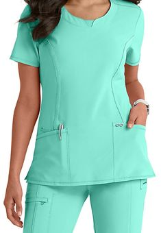Infinity By Cherokee Solid Round Neck Scrub Tops With Certainty - Black - S: The adorable… Scrubs Outfit, Scrubs Uniform, Medical Scrubs, Nursing Scrubs, Medical Uniforms, Nursing Clothes, Scrub Tops, Work Wardrobe, Work Attire
