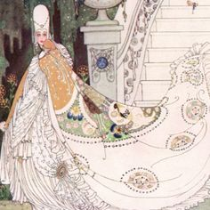 """Here we show a portion of """"Cinderella"""" - a design by Kay Nielsen from a suite inspired by the Fairy Tales of Charles Perrault."""