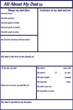 All About My Dad Printable | Scribd