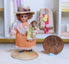 """Irma Park - 1.75"""" doll with dolly, wax over composition, 1975"""