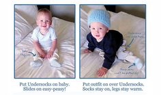 My product line that I created in 2011.  Keeps babies legs and feet cozy warm.  Baby Undersocks--Socks that Stay On.