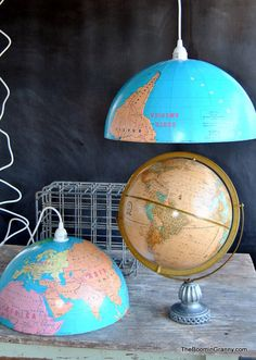 world globe pendant lights by the boomin granny on etsy