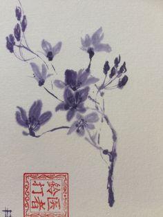 On JetPens washi postcard and purple Japanese ink stick