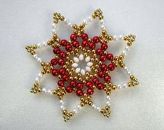 Perlenstern weiß 8,8 cm, beaded Ornament
