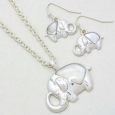 Mother of Pearl Elephant Pendant and Earrings Set