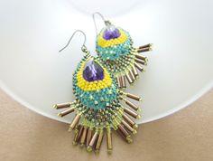 Beaded Peacock Earrings in Amethyst Crystal @JeannieRichard #brigteam #jewelry #earrings #handmade