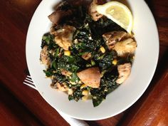 """Why I always pack my own lunch! Wilted lacinato kale salad with tempeh, cauliflower, corn, homemade wheat pita chips,and giganti beans in a smoked eggplant """"Caesar"""" dressing. Vegan, delicious power meal!"""
