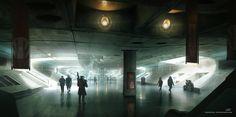 A Quick Smoke In the Subway Hall, Sebastien Hue on ArtStation at https://www.artstation.com/artwork/gvLox