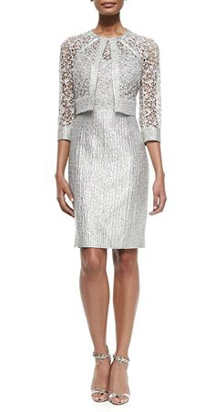 Silver cocktail dress and matching jacket for the mother-of-the-bride or mother-of-the-groom by Kay Unger Mob Dresses, Dressy Dresses, Sexy Dresses, Beautiful Dresses, Evening Dresses, Bride Dresses, Modest Dresses, Elegant Dresses, Summer Dresses