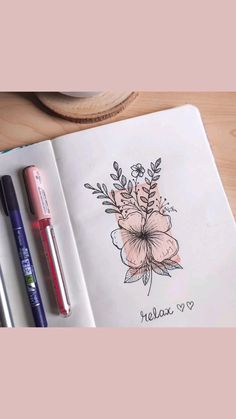 Floral Illustrations, Bullet Journal Inspiration, Tutorials, Painting, Painting Art, Paintings, Painted Canvas, Flower Artwork, Drawings