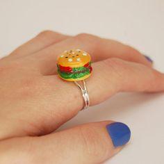 Nom Burger Ring Kawaii Kitsch Style on Adjustable by JayneKitsch