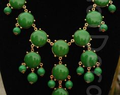 Statement Necklace Green necklace Bubble necklace Bib necklace for women Beaded Necklace gift party necklace jewlery jewelry Chunky Necklace