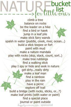 Kid's Nature Bucket List is part of Nature kids - Simple Kid's Nature Bucket List to start with the youngest of kids! Forest School Activities, Nature Activities, Toddler Activities, Learning Activities, Outdoor Activities, Toddler Play, Outdoor Education, Outdoor Learning, Outdoor Play