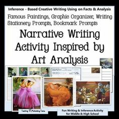 Narrative Writing Prompts Bookmarks and Stationary -  Famous Paintings, Graphic Organizer, Writing Stationary Prompts, Bookmark Prompts. Inspiring, thought-provoking activity for middle and high school.