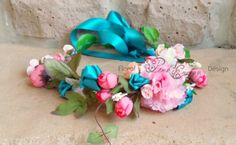 Silk Flower Crown - Teal, peach and coral - Adjustable - Adult size. E Design, Floral Design, Wrist Corsage, Flower Crowns, Silk Flowers, Teal, Pink, Handmade, Hand Made