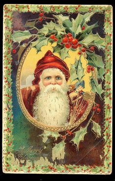 Santa Claus/Father Christmas Robed Gel 1908 Postcard Used with no postmark. embossed, small wear on corners and edges. Nice bright colors Crease in one corner Circa: 1908 Condition: Used Publisher: Unknown