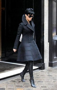 Celebrity street style | Dress coat | leather boots | Rihanna | Pixie Cute | Paris | All Black | Thigh High Boots | Stiletto | Chic | Edgy | Outfits  <3 @benitathediva