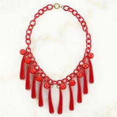 VINTAGE Bakelite Celluloid Chunky Fringe Statement Necklace Cherry Red WWII Era