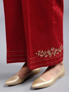 Buy Red Embroidered Cotton Silk Palazzos with Zari Work Women The Celebratory Closet Traditional Chanderi ensembles perfect for festive evenings Online Kurta Designs Women, Kurti Neck Designs, Dress Neck Designs, Salwar Designs, Blouse Designs, Kurtha Designs, Embroidery Suits Punjabi, Kurti Embroidery Design, Embroidery Dress