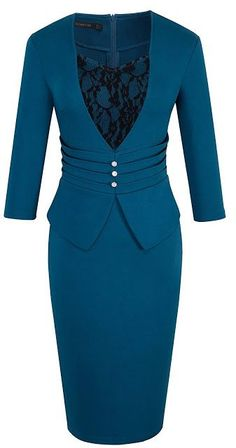Shop Women's Elegant Business Sleeve Lace Retro Pencil Sheath Dress - Teal - and Discover a Huge Selection of Women's Dresses at Affordable Price. Work Dresses For Women, Clothes For Women, Modern Vintage Fashion, Latest African Fashion Dresses, Retro Dress, Dress Patterns, Sheath Dress, Designer Dresses, Fashion Outfits