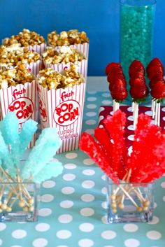 Blue and red (was a Dr. Suess theme) party table