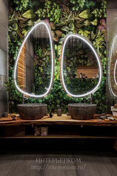 "I really like the irregular-shaped mirrors usead here. (not excited about the ""living wall""- a bit over-the-top) I really like the irregular-shaped mirrors usead here. (not excited about the living wall- a bit over-the-top) Salon Interior Design, Beauty Salon Interior, Restaurant Interior Design, Design Hotel, Cafe Interior, Bathroom Interior Design, Interior And Exterior, Interior Office, Interior Livingroom"