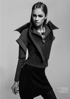 Architectural Fashion Design - jacket with graphic structure; sculptural fashion // Mirela Fraser